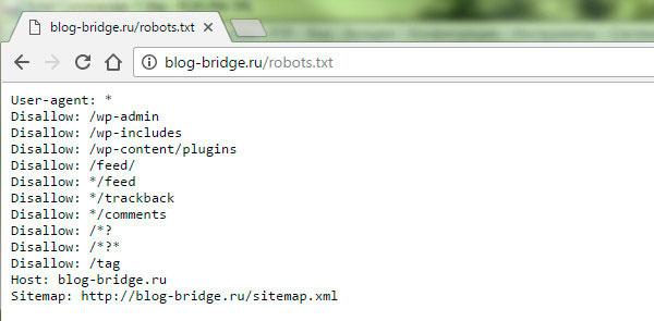 пример документа robots.txt