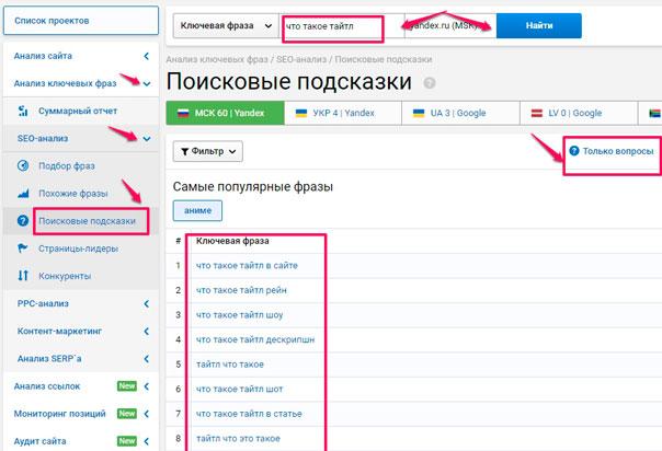Serpstat подзказки для текстов